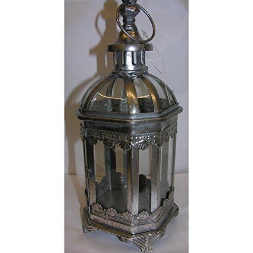 Antik gestaltete Laterne aus Metall mit Glas 28cm nostalgisch Windlicht Silber