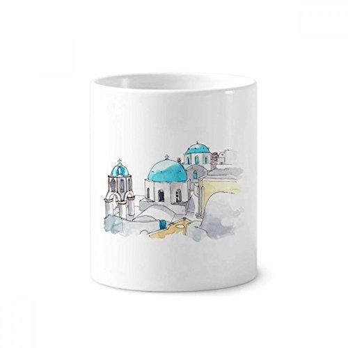 DIYthinker Imerovigli Dorf in Santorini Griechenland Keramik Zahnbürste Stifthalter Tasse Weiß Cup 350ml Geschenk 9.6cm x 8.2cm hoch Durchmesser Dorf-becher