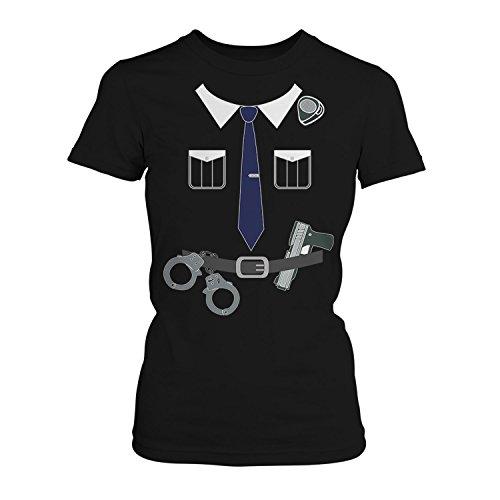 Fashionalarm Damen T-Shirt - Polizisten Kostüm | Fun Shirt als Polizei Uniform Verkleidung für Karneval & Fasching, Farbe:schwarz;Größe:M