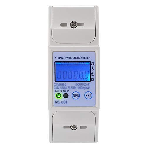 XTM35SC Digital LCD 50/60Hz 5(50) A 230V Energy Meter 2P Single Phase DIN Rail Accurate With RS485 MODBUS Lcd-pole Kit