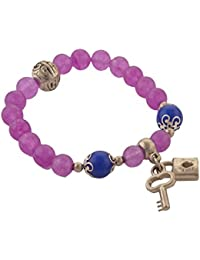 Zephyrr Fashion Handmade Stretchable Hand Beaded Bracelet With Lock Key Charms Jewellery For Girls And Women