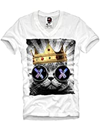 E1SYNDICATE V-NECK T-SHIRT HIPSTER CAT LSD WASTED YOUTH ELEVEN DOPE ECSTASY XTC S-XL