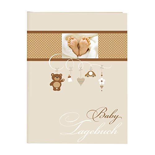 Goldbuch Babytagebuch, Litte Mobile, 21 x 28 cm, 44 illustrierte Seiten mit Pergamin-Trennblättern, Kunstdruck mit UV-Lack, Beige, 11237