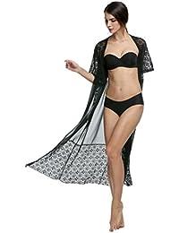 aimerfeel Frauen Blütenspitze Chiffon Kimono Cardigan Hemdober lange Strandkappe, Bikini simwear zu verschleiern Nachtabnutzung, weiß oder schwarz