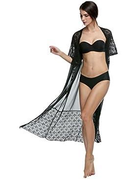 femminile aimerfeel pizzo floreale chiffon Kimono cardigan camicia sommità del cappuccio lunga spiaggia, bikini...