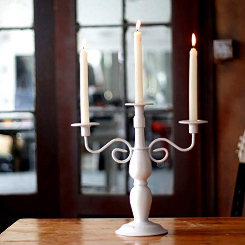 CAI Retro Kerzenhalter Dekoration Kerzenhalter Eisen Kunst 3 Köpfe Romantische Mode Haushaltsgegenstände Zwei Farbe Optional (34 * 33 cm),Weiß Kunst-dinner