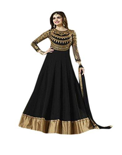 Shoppingover bodenlanger Anarkali, pakistanischer Salwar Kameez in schwarzer Farbe, schwarz, GH2947RD-U (Salwar Kameez Dupatta)