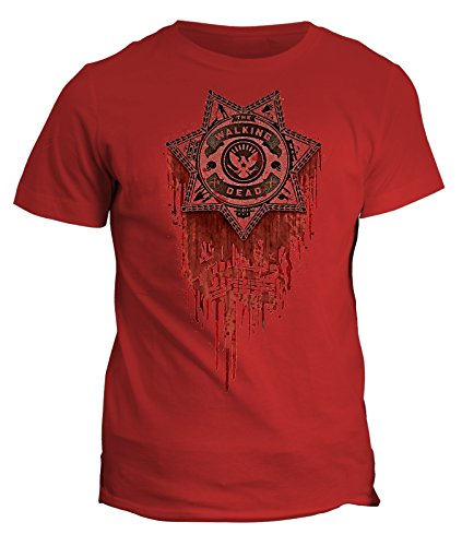 Tshirt The walking dead blood sheriff - zombie in cotone by Fashwork Rosso