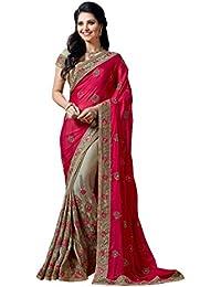 Aarti Apparels Silk & Georgette Saree With Blouse Piece(Manmohak-1001_Multi_Free Size)