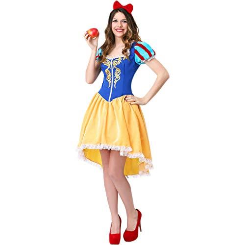 QWEASZER Halloween märchen Erwachsene Cosplay Schneewittchen Kleid Damen kostüm Cosplay kostüm sexy Maid uniform Spiel cos Prom bar tanzen Kleid,Yellow - Sexy Bar Maid Kostüm