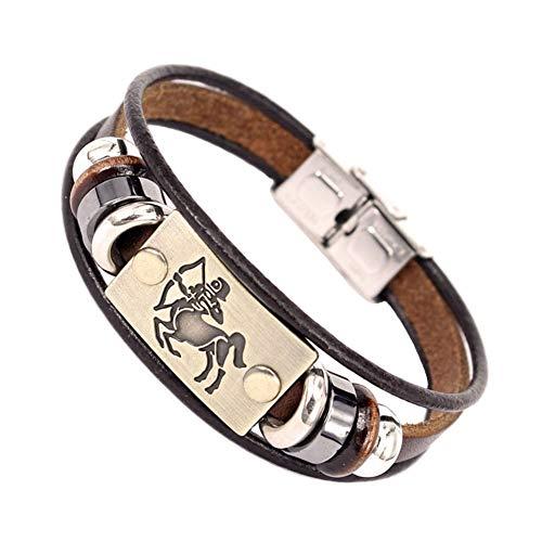 QIANJY 12 Sterrenbeelden Mannen Armband Manchet Lederen Legering Sternzeichen Man Casual Punk Armbanden