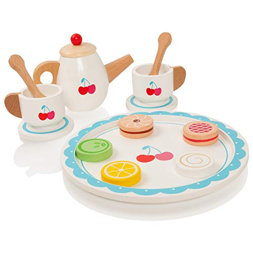 Milly & Ted Wooden Cherries Tea Party Teaset - Childrens Pretend Play Food Kitchen Set - Includes Biscuits