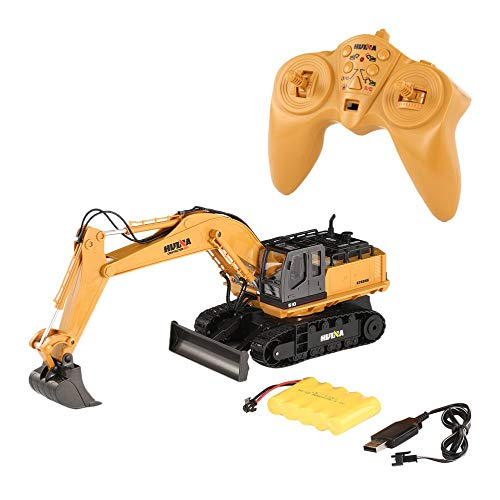 mimagogy Huina Spielzeug 1510 2.4G 1/16 11CH Legierung RC Bagger LKW Ton 680 ° Rotation