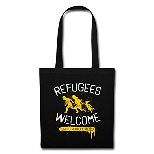 Spreadshirt Refugees Welcome Stoffbeutel Schwarz