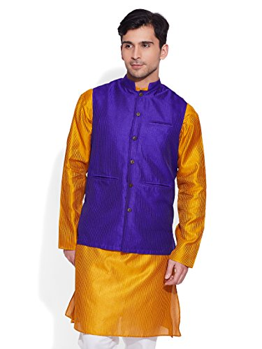 Very Me Men's Designer Purple Faux Silk Textured Nehru Jacket Size:- 38 / M  available at amazon for Rs.999