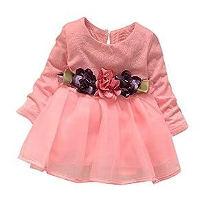 Chennie Kleinkindkindmädchen kleidet langärmliges Blumengaze-Baumwollkleid für Geburtstag Partei Hochzeit