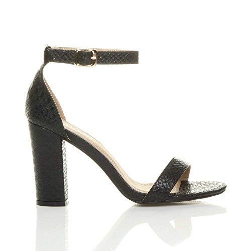 Damen Hochblockabsatz Riemchen Peep Toe Schuhe Knöchelriemen-Sandalen Größe Schwarz Schlange