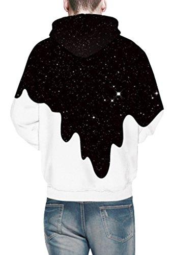Pretty321 Men Women Galaxy Stars Universe Hoodie Sweatshirt w/ Pocket Collection Fun Black White Paint Stars