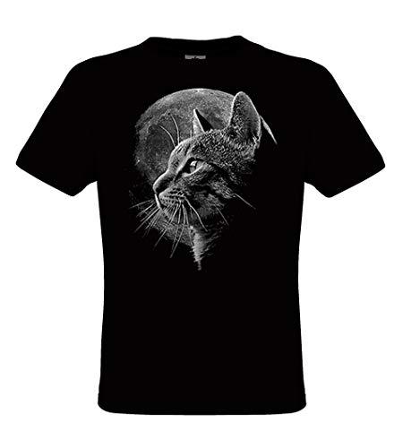 DarkArt-Designs Cat Moon - Katze mit Vollmond T-Shirt für Kinder und Erwachsene - Tiermotiv Shirt Haustier Wildtier Fun Party&Freizeit Lifestyle Regular fit, Größe S, schwarz -