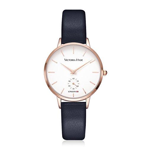 VICTORIA HYDE Damen-uhren Frauen Analog Quartz-Armbanduhr Classic Rosegold Aus Lederarmband Blau 3 Bar Wasserdicht Geschenk-Box