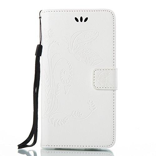 Solid Color Faux Leder Bookstyle Brieftasche Stand Case mit geprägten Blumen & Lanyard & Card Slots für LG G6 ( Color : Coffee ) White