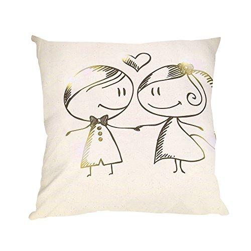 NEEDRA Lch Liebe Dich Valentinstag Romantisch Geschenk 45x45 cm Deko-Kissen Geburtstag/Bedrucktes Motiv-Kissen Mit Herzen (Lust Auf Rote Kleider)