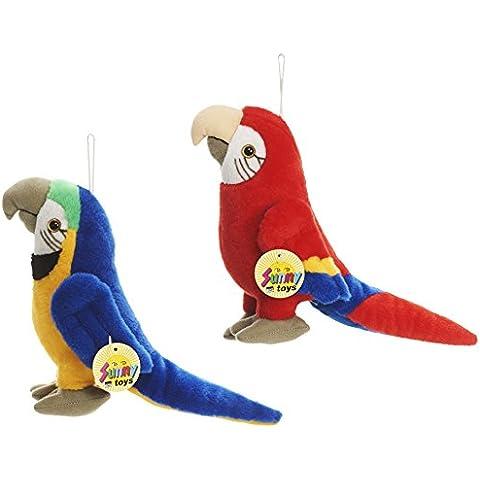 Sunny Toys 32524–loro de peluche 20cm, 2unidades), color rojo/azul