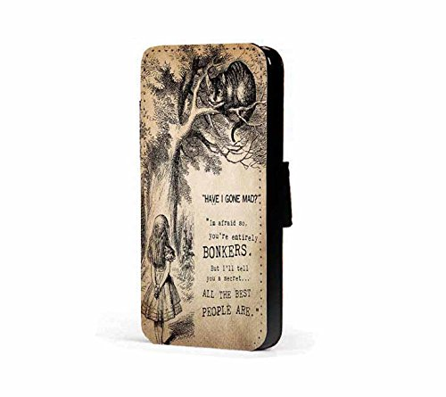 Bonkers Alice im Wunderland-Zitat, Kunstleder wallet Handy-Schutzhülle für iPhone 6 Plus/6s Plus