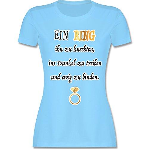 Shirtracer JGA Junggesellinnenabschied - ein Ring. JGA - Damen T-Shirt Rundhals Hellblau