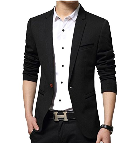 Brinny Herren Sakko Sportlich Moderne Slim-Fit Jacke Eleganter Freizeit und Business Blazer mit Gefüttert Kunstpelz, Schwarz, EU XS/Asian M
