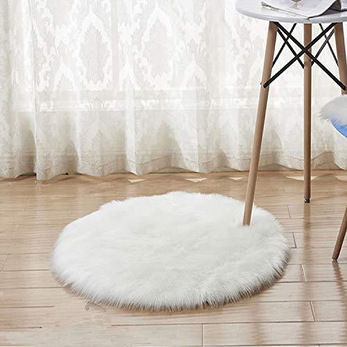 Buorsa 30,5cm Weiches Kunstfell-rouund Shaggy Shag Wohnzimmer Teppiche weiß flauschig Ein Teppich Mini Kleine Größe Passform für Das Fotografieren von Hintergrund Schmuck Size-2 - Shag Teppich