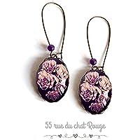 Orecchini Cabochon, rosa viola colore fiori, bouquet