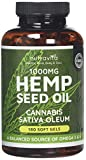 Hemp Seed Oil 1000mg Supplement 180 Soft Gel Capsules | Pure Cold Pressed Oil | 1000mg per Capsule | Made in The UK by Nutravita