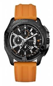 Guess - W18540G2 - Speedway - Montre Homme - Quartz Analogique - Cadran Noir - Bracelet Cuir Orange