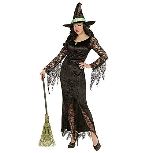 WIDMANN 06503 - Erwachsenenkostüm Hexe, Kleid mit Edelstein und Hut, Gröߟe L, schwarz