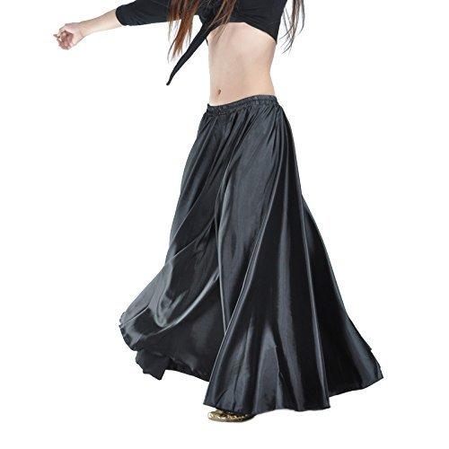 (Yanni Satin-Rock für Bauchtanz, lange Tanzkleidung für Damen und professionelle Tänzer, Schwarz )