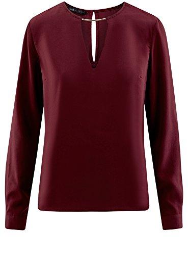 oodji Collection Damen Bluse mit Tropfen-Ausschnitt und Metall-DEKO Rot (4900N)