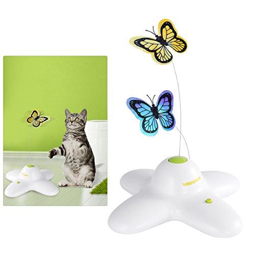 UEETEK Schmetterling Interaktive Katze Spielzeug Elektrische Rotierende Katze Spielzeug Blinkende Teaser Spielzeug für Kitten, Mit Ersatz Schmetterlingsköpfen