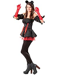 r-dessous sexy 4 tlg minnie Maus Mouse Kostüm Damen mouse Micky Mickey Kleid Karneval Fasching Motto Party