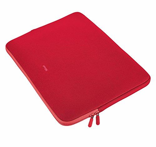 Trust Primo Soft Laptop Sleeve 15,6 Zoll weiche Schutzhülle (für Notebooks mit Bildschirmdiagonale bis 39,6 cm (15,6 Zoll)) rot