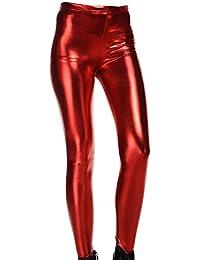 DELEY Mujeres Leggins Cuero De Patente WetLook Brillante Metálico Líquido Pantalones  Skinny 76790e71dc57
