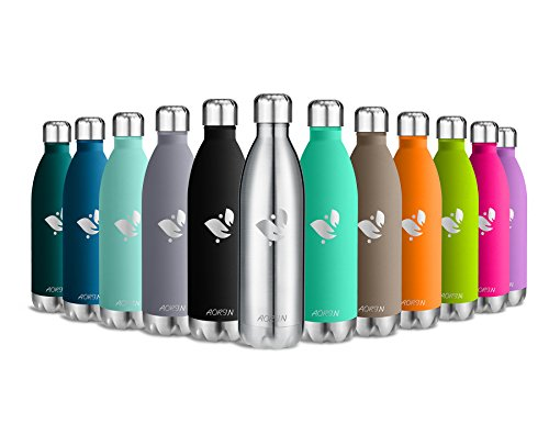 Aorin Vakuum-isolierte Trinkflasche aus Hochwertigem Edelstahl - 24 Std Kühlen & 12 Std Warmhalten . Pulverlackierung Kratzfestigkeit Leicht zu reinigen. (silber-750ml)