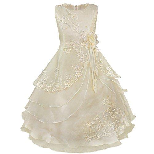 hen Kleider Festlich 104 110 116 128 140 152 164 Blumenmädchen Kleidung (98-104, Champagner, Herstellergr. 4 Jahre) (Mädchen-größe 8 Kleider)