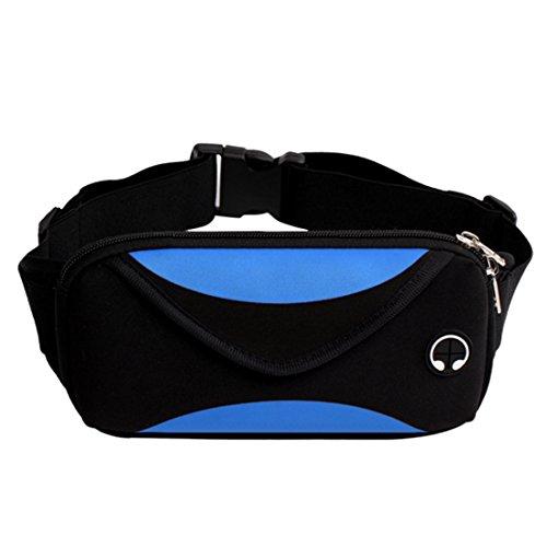 Winni43Julian Gürteltasche,Schwarz Wasserdichte Bauchtasche mit 2 Großer Tasche und Ein Kopfhörer Loch Design,Hüfttasche für Sport,Travel,Running