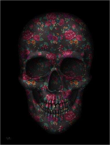 Stampa su acrilico 100 x 130 cm: Skull Black Flowers di Francisco Valle