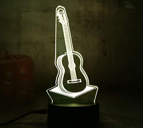 3D Gitarre Musik Led Nachtlicht 7 Farben Ändern Touch Schreibtisch Tischlampe Geschenk Kinder Schlafzimmer Wohnzimmer Dekoration