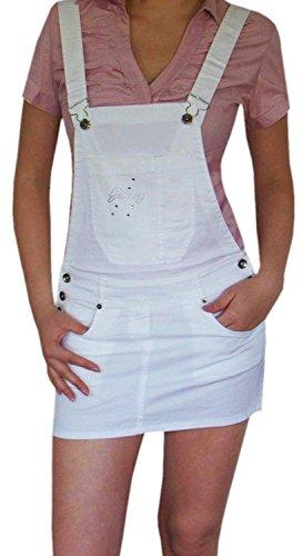 Damen Rock Minirock Rock mit Trägern Mädchen Kleid Latzrock (M, Weiß) (Diva Mode)