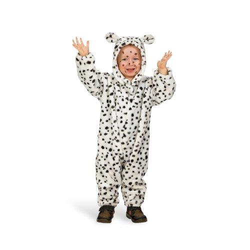 Kleinkind Kostüm Für Dalmatiner (Tier Kostüm Kleinkind Hund Dalmatiner Overall mit Kapuze mit Ohren weiß schwarz gepunktet -)