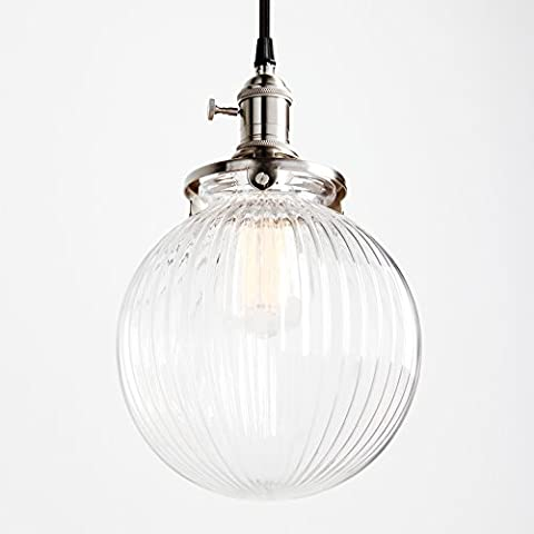Pathson Industrial Vintage Modern Victoria Ceiling Pendant Light Fixture Loft Bar Kitchen Island Chandelier with Brushed Light Fittings Ribbed Globe Clear Glass Shade
