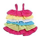 Fenteer Mode Puppenbekleidung Für 18 Zoll Puppe - Bunte Tiered Einteiliges Puppenkleid